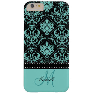 Damasco azul y negro del trullo personalizado funda barely there iPhone 6 plus