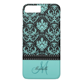 Damasco azul y negro del trullo personalizado funda iPhone 7 plus