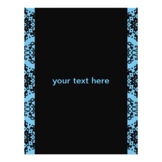 "Damasco azul y negro elegante folleto 8.5"" x 11"""
