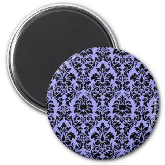 Damasco azul y negro imán redondo 5 cm