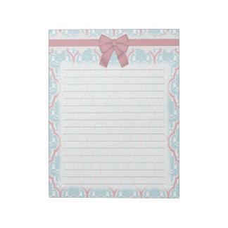 Damasco azul y rosado elegante lamentable bloc de papel