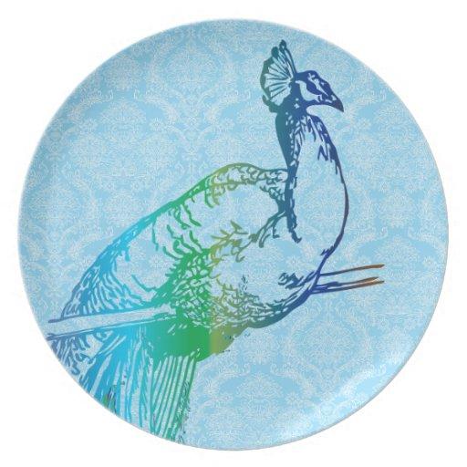 Damasco azul y verde del vintage de pavo real de l platos para fiestas
