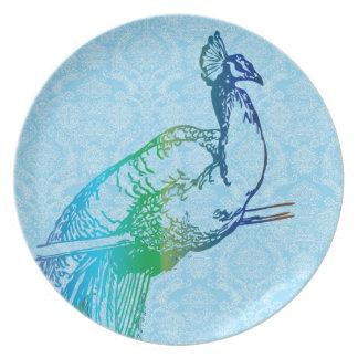 Damasco azul y verde del vintage de pavo real de platos para fiestas