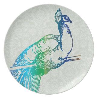 Damasco azul y verde del vintage de pavo real del platos de comidas