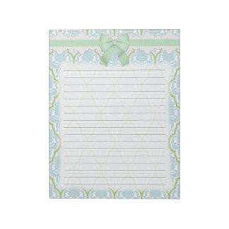 Damasco azul y verde elegante lamentable bloc de notas
