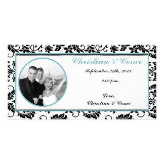 damasco Bab del negro de la invitación de la foto  Tarjetas Con Fotos Personalizadas