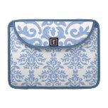 Damasco barroco azul y blanco elegante fundas para macbook pro