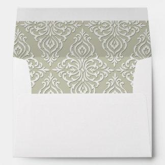Damasco barroco gris elegante sobres