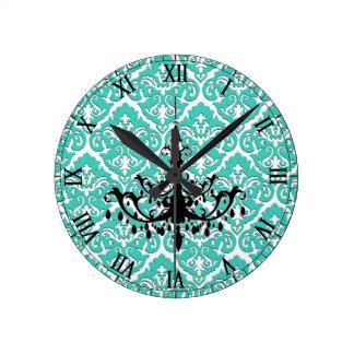 Damasco Black Chandelier del trullo Reloj Redondo Mediano