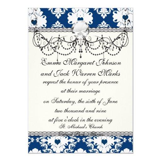damasco blanco azul de los corazones de la marina invitación
