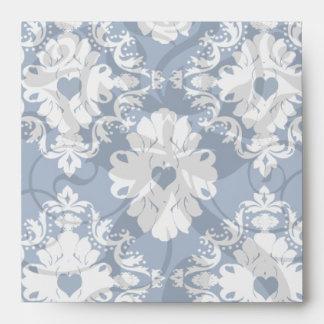 damasco blanco azul de los corazones de la marina