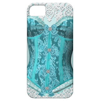 Damasco blanco azul del cordón del trullo del funda para iPhone 5 barely there