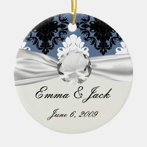 damasco blanco azul del diamante negro de la pizar ornamento de navidad