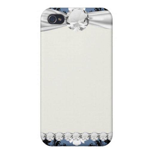 damasco blanco azul del diamante negro de la pizar iPhone 4 carcasas