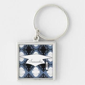 damasco blanco azul del diamante negro de la pizar llavero