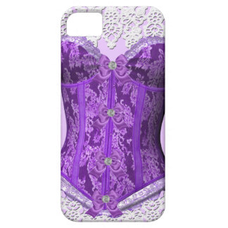 Damasco blanco de color de malva púrpura del cordó iPhone 5 Case-Mate funda