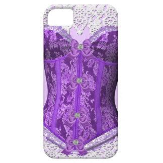 Damasco blanco de color de malva púrpura del funda para iPhone 5 barely there