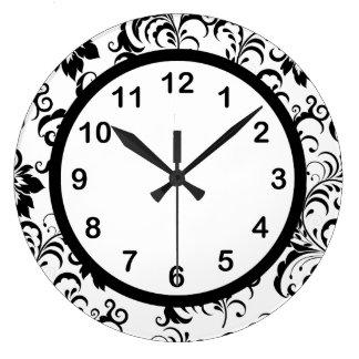 Damasco blanco del ajuste del negro del reloj de