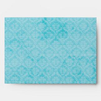 damasco blanco del damasco azul del trullo del sob sobre