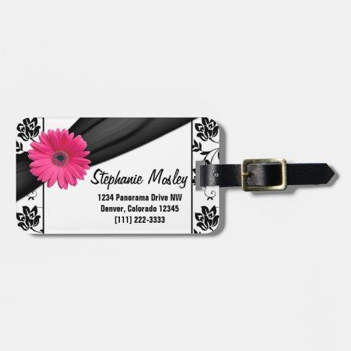 Damasco blanco del Gerbera del negro rosado de la  Etiquetas Maletas