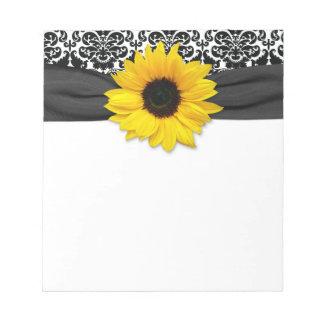 Damasco blanco del girasol del negro amarillo de libreta para notas
