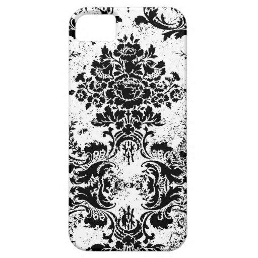 Damasco blanco del Grunge del negro del vintage de iPhone 5 Fundas
