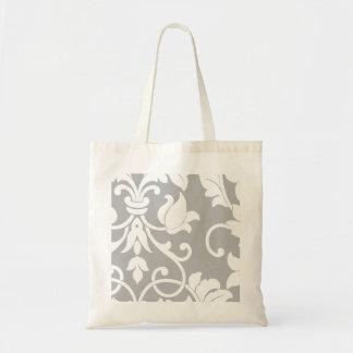 Damasco blanco en gris bolsa tela barata