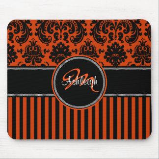 Damasco blanco negro anaranjado Mousepad de la ray Tapetes De Raton