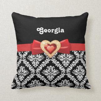 Damasco blanco negro atractivo y arco y joya rojos almohada