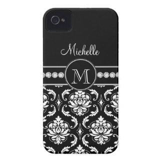 Damasco blanco negro conocido del monograma Case-Mate iPhone 4 protector