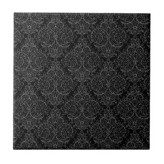 Damasco blanco negro del lápiz azulejo cuadrado pequeño
