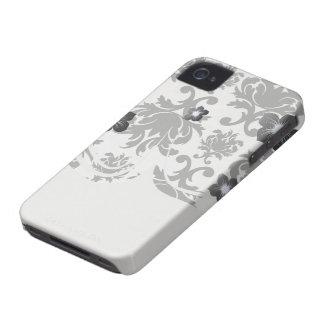 damasco blanco negro formal adornado Case-Mate iPhone 4 protector