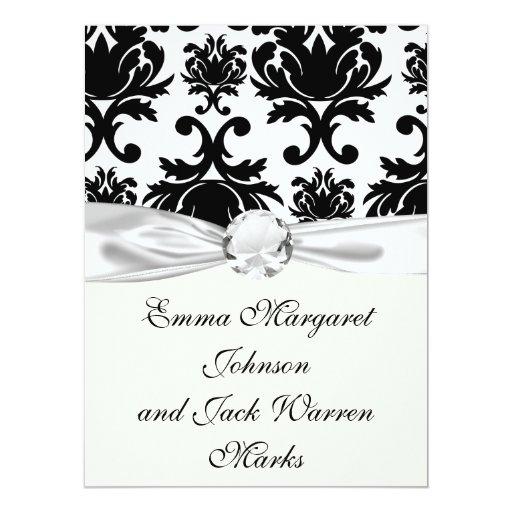 "damasco blanco negro formal adornado invitación 6.5"" x 8.75"""