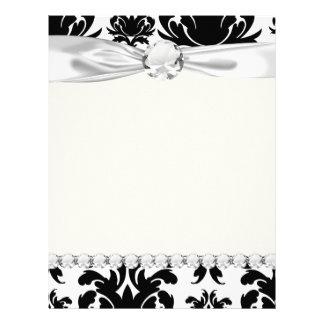 damasco blanco negro formal adornado membrete