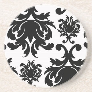 damasco blanco negro formal adornado posavasos de arenisca