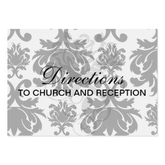 damasco blanco negro formal adornado tarjetas de visita grandes
