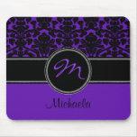 Damasco blanco negro púrpura Mousepad del monogram Alfombrilla De Ratones