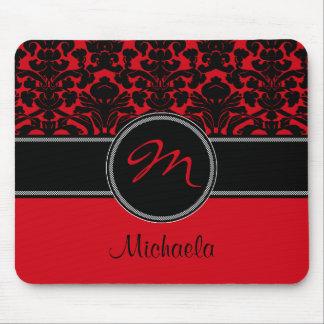 Damasco blanco negro rojo Mousepad del monograma Tapete De Ratón