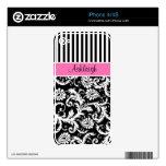 Damasco blanco negro rosado iPhone4/4s de la raya iPhone 4S Skin