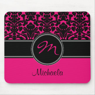 Damasco blanco negro rosado Mousepad del monograma Tapete De Raton