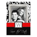 Damasco blanco negro y reserva roja del boda las invitación 12,7 x 17,8 cm