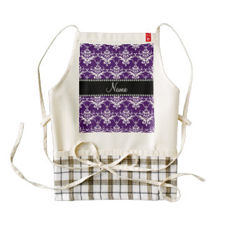 Damasco blanco púrpura conocido personalizado delantal zazzle HEART