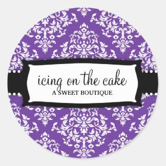 Damasco blanco púrpura de la guinda del pastel 311 pegatina redonda