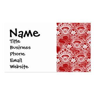 Damasco blanco rojo apenado vintage elegante del tarjetas de visita