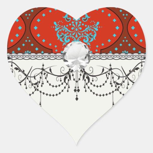 damasco blanco rojo de la alheña de la aguamarina  calcomanías de corazones personalizadas