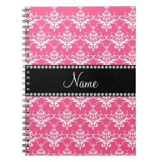 Damasco blanco rosado conocido personalizado cuaderno
