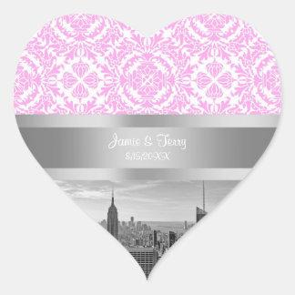 Damasco blanco rosado de BW D4P del horizonte de Pegatina En Forma De Corazón
