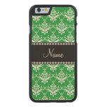 Damasco blanco verde conocido personalizado funda de iPhone 6 carved® slim de arce