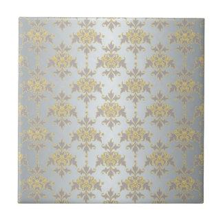 Damasco blanco y amarillo de plata de lujo azulejo cuadrado pequeño