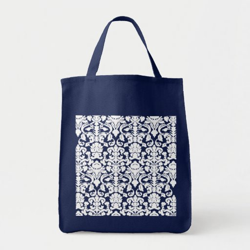 Damasco blanco y azul bolsas lienzo